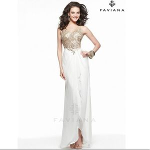 Faviana S7502 Black and Gold Prom Gown